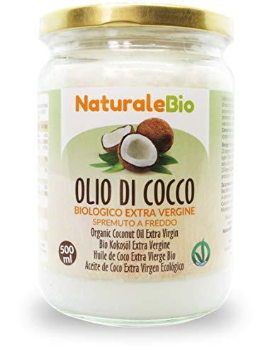 Olio di Cocco Biologico Extra Vergine 500 ml. Crudo e Spremuto a Freddo. 100% Organico, Naturale e Puro. Bio Nativo e non Raffinato. Paese di Origine Sri Lanka. NATURALEBIO