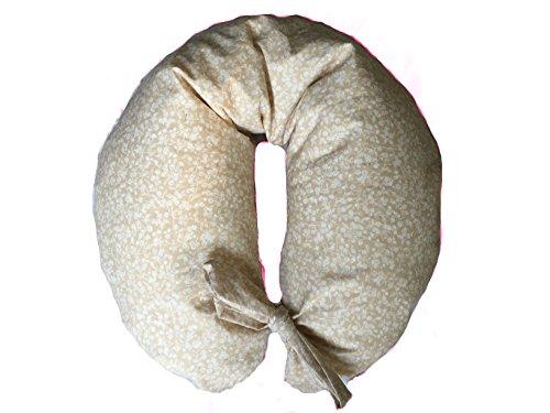 Merrymama - Cuscino allattamento + fodera con lacci/cm 130 (imbottito in pula di farro bio) - Provenzale Ecrù