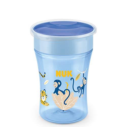 Nuk Magic Cup 10255507 Bicchiere Antigoccia 8+ Mesi, 230 ml, Blu (Scimmia)