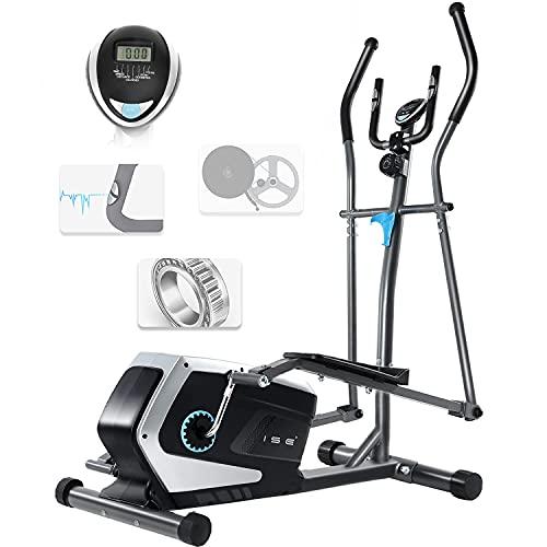 ISE Crosstrainer Trainer Ellittica Magnetico Cyclette, Sistema di Freno Magnetico,Display LCD,Ergometro Compatibile,8 Livelli di Resistenza, Peso Inerziale 8 KG, SY-9801
