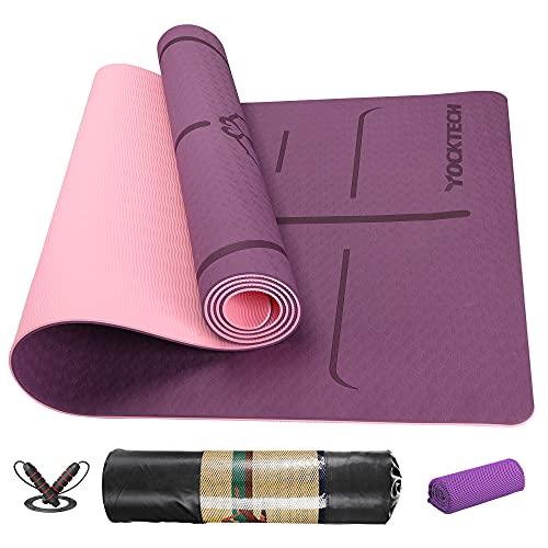 YOCKTECH Tappetino Yoga, professionale Tappetino da Yoga Antiscivolo Double-Sided da 183 x 61 x 0.6 cm,Tappeto Fitness TPE Yoga Mat per Pilates/Allenamento (Dark purple)