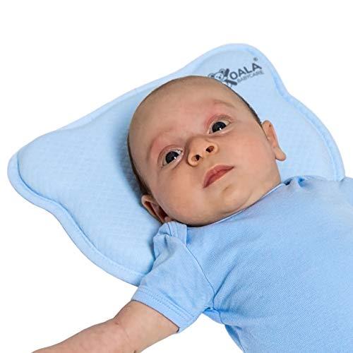 Cuscino Neonato Plagiocefalia Sfoderabile (con due Federe) per la Prevenzione e Trattamento della Testa Piatta in Memory Foam - Blu - Design Registrato KBC®