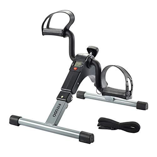 FITODO Pedal Trainer Pedale della Bici Mini Bike Esercizio Pedale Exercycle con Monitor LCD per Il Recupero di Braccia e Gambe(Grigio)