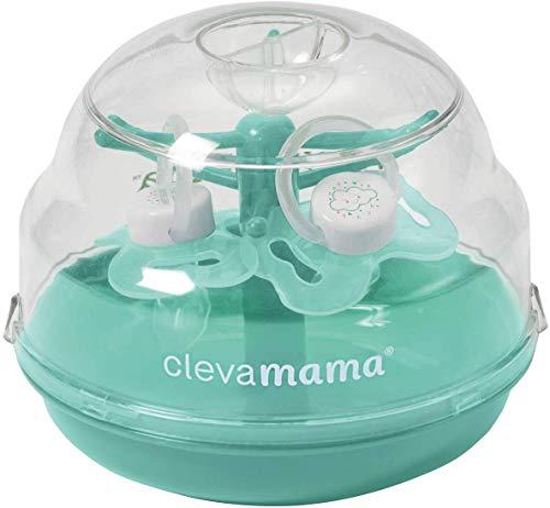 ClevaMama Sterilizzatore Ciuccio Microonde SootherTree®, Portatile e Rapido (fino a 6 Succhietti in 60 sec.), 2 Ciucci Inclusi - Turchese, 14.6x11.9x12 cm