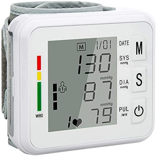 Misuratore di Pressione Sanguigna da Polso,Misuratore Pressione Automatica Arteriosa e Battito Cardiaco,Misurare Sanguigna Pressione e Frequenza Cardiaca,Grande Schermo LCD e 2*99 Misurazioni Memoria