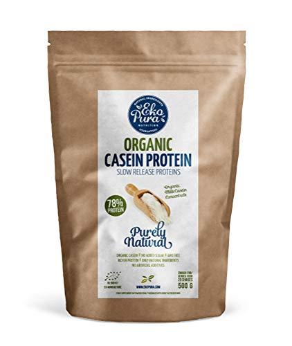 Organic Casein Protein - Biologico - Naturale - Proteine 78% - Caseina Senza: Aditivi, OGM, Soia, Zucchero Aggiunto - 500g