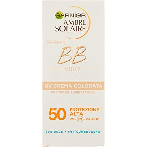 Garnier Ambre Solaire Crema Colorata Protezione Solare BB Cream, Unforma il Coloito, Non Unge, IP50+, 50 ml, Confezione da 1