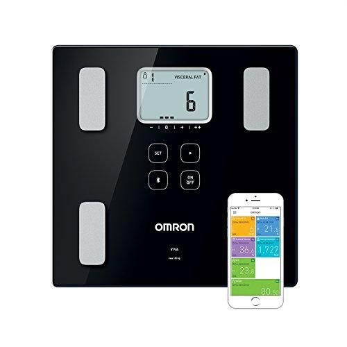 OMRON VIVA Bilancia smart e misuratore della composizione corporea Bluetooth con calcolo di grasso corporeo, peso, grasso viscerale, muscolatura scheletrica, metabolismo basale e BMI