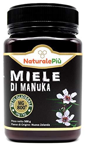 Miele di Manuka 800+ MGO 500 gr. Prodotto in Nuova Zelanda, Attivo e Grezzo, Puro e Naturale al 100%. Metilgliossale Testato da Laboratori Accreditati.