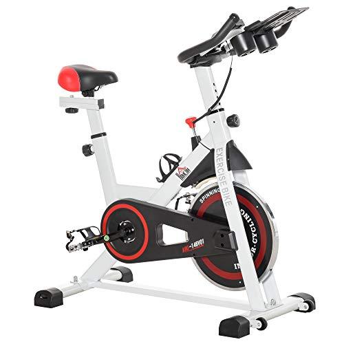 homcom Cyclette Spinning Professionale, Spin Bike Cyclette da Camera con Schermo LCD e Portabicchieri, Volano 8kg