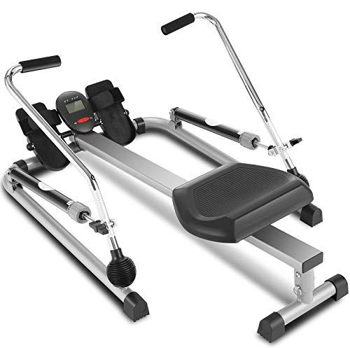 ANCHEER Vogatore da fitness idraulico Vogatore per Casa/ 12 Livelli di Resistenza Regolabili / LCD digitale / Carico massimo: 100 kg(Grigio)