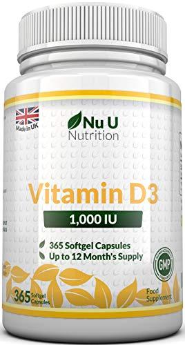 Vitamina D3 1000UI 365 Capsule Softgel (Scorta per 1 Anno) Integratore di Vitamina D3, Colecalciferolo ad Alta Biodisponibilità Nu U Nutrition