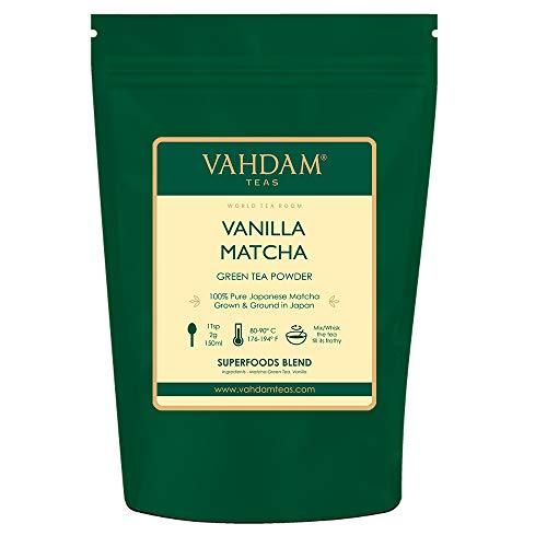 VAHDAM, tè verde alla vaniglia matcha (50 tazze) 100 g   Polvere di tè matcha 100% di origine giapponese   ANTI-OSSIDANTI 137x   Tè verde per perdita di peso e disintossicazione quotidiana