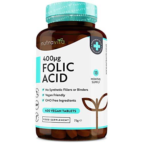 Compresse di Acido Folico 400 mcg - 400 Compresse Vegane- Copertura di 13 mesi - Sostegno alla gravidanza - Funzione normalizzante del Sistema Immunitario - Prodotto in Uk da Nutravita