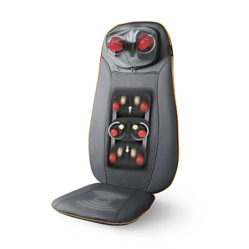 Medisana MCN Massaggio Shiatsu Pad Seduta Massaggiante con 3 Zone di Massaggio Funzione Calore, Funzione Luce Rossa, Massaggio Cervicale Regolabile in Altezza Adatto a Qualsiasi Sedia con Telecomando