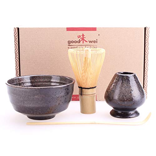Goodwei Set di tè Matcha Giapponese con titulare Chasentate (Goma)