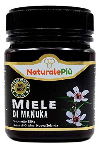 Miele di Manuka 500+ MGO 250 gr. Prodotto in Nuova Zelanda, Attivo e Grezzo, Puro e Naturale al 100%. Metilgliossale Testato da Laboratori Accreditati.