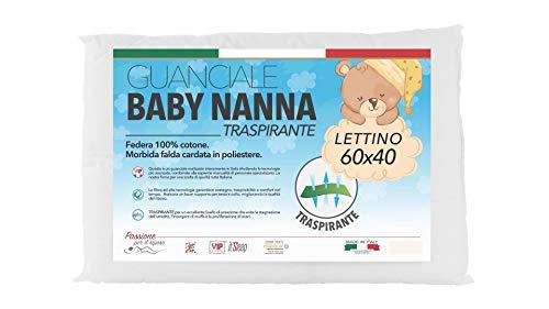 Baby Nanna cuscino neonato, cuscino antisoffoco neonato,100% italiano, cuscino basso nido neonato, cuscino culla ideale anche per lettino bambino e lettino neonato.