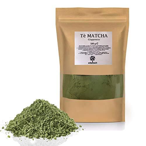 ERBOTECH Tè Matcha/Tè Verde Giapponese in Polvere da 100g, Multivitaminico Naturale al 100%, Qualità Premium, Vegan, Made in Italy. Ideale per Dolci, Frullati, Tè freddo
