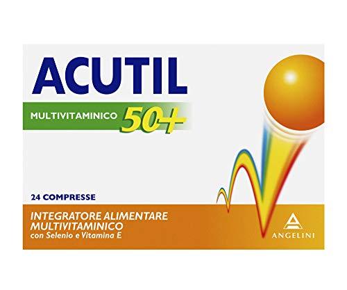 Acutil Multivitaminico 50+, Integratore Alimentare per gli adulti dai 50 anni in su con Vitamine, Fosfoserina, Minerali e Selenio. Riduce Stanchezza e protegge dallo Stress ossidativo, 24 Compresse