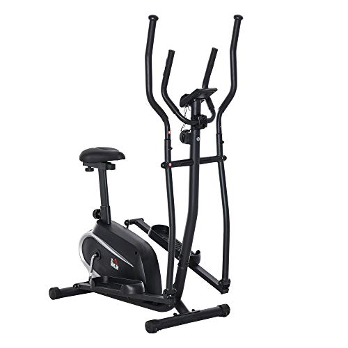 homcom Cyclette Bici Ellittica Magnetica con Schermo LCD, 8 Livelli di Resistenza e Sedile Regolabile, 103x62x151cm Nero