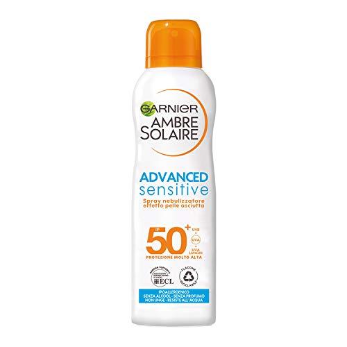 Garnier Ambre Solaire Spray Nebulizzatore Protettivo IP 50+ Advanced Sensitive, Protezione Molto Alta, Effetto Pelle Asciutta, 200 ml