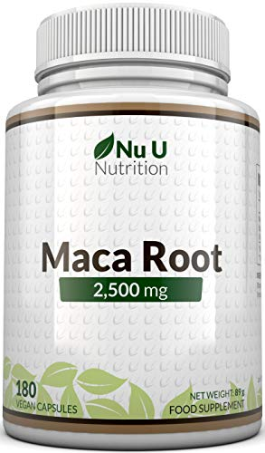 Radice di Maca in Capsule da 2500mg | 180 capsule (Fornitura Per 6 Mesi) | Integratori alimentari Nu U Nutrition