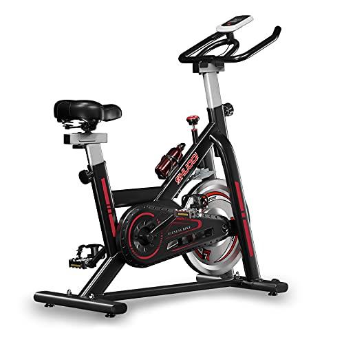 SHUOQI Cyclette da Casa, con Comodo Sedile Super Morbido E Barra di Estensione del Sedile Aggiornata. Volano da 15 kg, Adatto per Principianti con Meno di 183 Cm / 130 kg