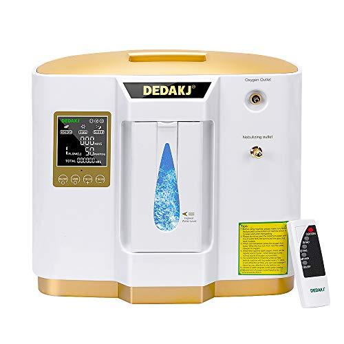 DEDAKJ Concentratore di Ossigeno Nebulizzatore Incorporato, 1-7L/min il Flusso 30%-90% Regolabile Concentrazione Ventilatore Polmonare Portatile, DE-1L