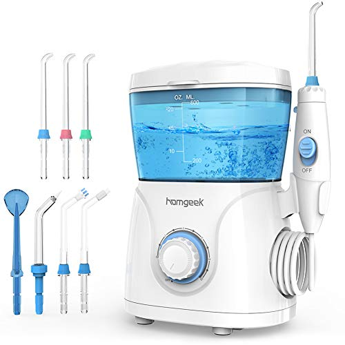 Idropulsore Dentale Professionale,Homgeek Irrigatore Orale Getto Acqua Denti da Capacità 600ml con 10 Impostazioni,Pulizia Doccetta Idropulitore Dentale con 7 Becchucci per Cura Famiglia Cura Dentale