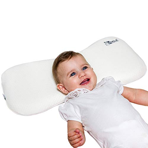 Cuscino Neonato Plagiocefalia 0-36 Mesi Sfoderabile (con due Federe) per il lettino - Prevenzione e Cura della Testa Piatta in Memory Foam Antisoffoco - Bianco - Design Registrato KBC®