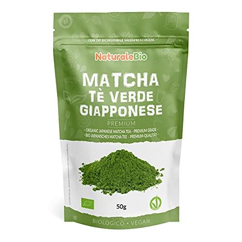 Tè Verde Matcha Biologico in Polvere - Grado Premium - da 50 grammi. The Matcha Prodotto in Giappone Uji, Kyoto. Ideale da Bere, per i Dolci, Frullati, Tè freddo, nel Latte e come ingrediente.