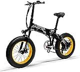 Bicicletta Elettrica Pieghevole da 20 Pollici con Ruote Larghe 4 ' Motore da 500W/1000W Mountain Bike in Alluminio 48 V 10,4 Ah Batteria Litio Bici da Spiaggia Neve All-terrain per Adulti [EU STOCK]