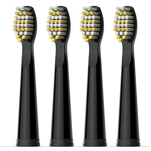 Testina di Ricambio per Spazzolino Elettrico Fairywill x 4 con Setola Resistente Solo per FW507, FW508, FW2011, FW551, FW959, FW917, FW515 Serie Spazzolino Nero FW06