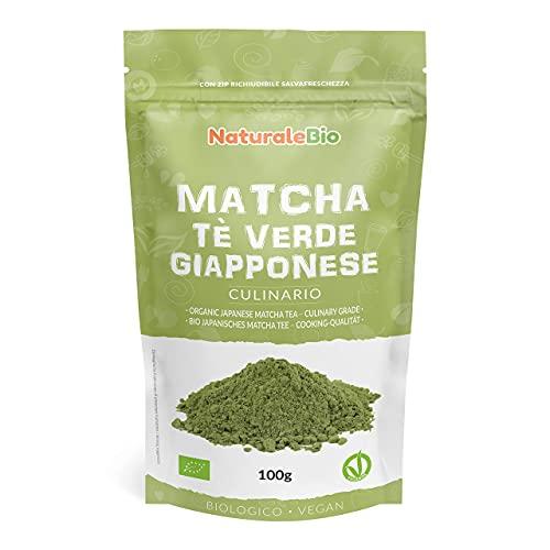 Tè Verde Matcha Biologico in Polvere - Grado Culinario - da 100g. The Matcha Prodotto in Giappone Uji, Kyoto. Ideale per Dolci, Frullati, Tè freddo, Latte e in Cucina come Ingrediente nelle Ricette