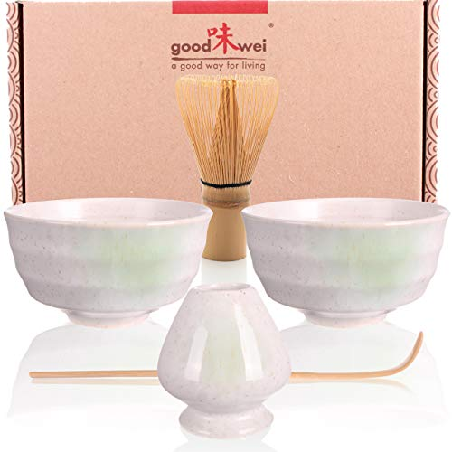 Goodwei Set di Tè Matcha Giapponese con titulare Chasentate - Due Tazze, frullino e cucchiaio (Bianco)