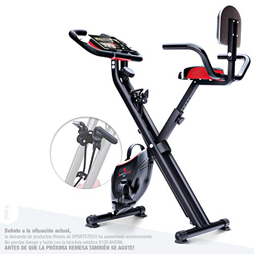 Sportstech Fitness Exercise Bike con Console-LCD & Sistema Pull Strap | Marchio di qualità Tedesca | Cyclette con Sedile Comfort & Sensori del Palmo | Bicicletta Pieghevole da casa | X100-B
