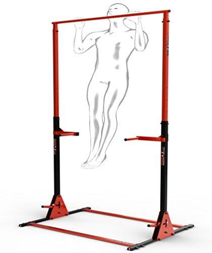 Zider Sport Barra per trazioni autoportante con stazione dip e maniglie per flessioni, altezza: 135-245 cm, Power Station Muscle Up Push Up