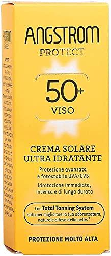 Angstrom Protect Crema Solare Viso, Protezione viso 50+ con Azione Ultra Idratante, Nutriente e Duratura, Indicata per Pelli Sensibili, 50 ml