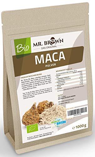 Mister Brown - Polvere biologica di maca, provenienza Perù, 1kg qualità eccezionale, confezionata in Germania, da coltivazione biologica controllata, senza additivi, senza conservanti