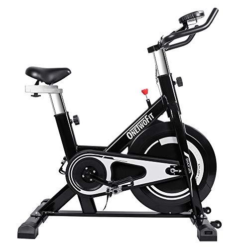 ONETWOFIT Cyclette da interno con display, sellino regolabile e manubrio Spinning Bike da ciclismo per allenamento cardio domestico OT125