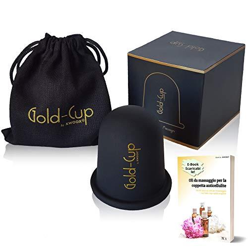 XWOOX - Gold-Cup Coppetta Anticellulite - Rimuove La Cellulite - Rassodante Gambe Glutei Fianchi - Massaggiatore Professionale Vacuum Anti Cellulite