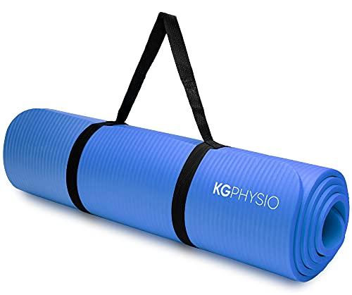 KG Physio Tappetino fitness, ideale per ginnastica a casa. Tappetino palestra e pilates, tappetino yoga antiscivolo spessore 1cm con tracolla. 183cm x 60cm x 10mm