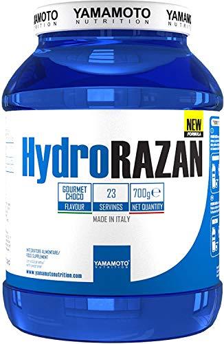 Yamamoto Nutrition Hydro RAZAN® new formula integratore alimentare a base di proteine del siero del latte idrolizzate Optipep® 90 con aggiunta di probiotici ed enzimi digestivi gusto Cioccolato 700 g