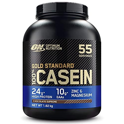 Optimum Nutrition 100% Gold Standard Casein, Proteine di Caseina a Lento Rilascio con Glutammina, Aminoacidi, Zinco e Magnesio, Supreme Cioccolato, 55 Porzioni, 1.82 kg, il Packaging Potrebbe Variare
