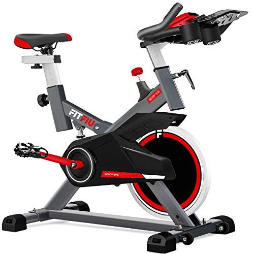 FITFIU Fitness BESP-100 Spin Bike con Disco D'Inerzia da 16 Kg e Resistenza Regolabile, Bici da Allenamento Fitness con Sella Regolabile, Bicicletta da Interno con Cardiofrequenzimetro e Schermo Lcd