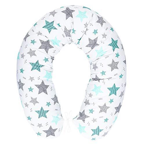 Cuscino per allattamento con imbottitura, per neonati e donne incinte, per dormire su un fianco, in cotone, con federa da 170 cm, motivo: stelle cadenti, turchese