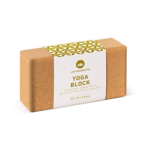 Lotuscrafts Mattoncini Yoga Supra Grip in Sughero - Prodotto Ecologico - Sughero Naturale al 100% Proveniente dal Portogallo - Blocco Yoga Sughero - Blocchi Yoga - Mattoni Yoga - Yoga Block