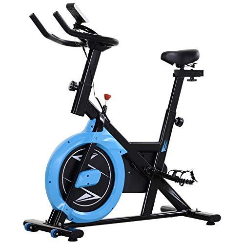homcom Cyclette con Trasmissione a Cinghia   Intensità, Manubrio e Sellino Regolabili   Schermo LCD   Nero e Azzurro