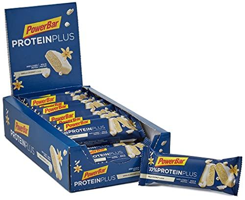 PowerBar Protein Plus 30% Vanilla Coconut 15x55g - Barra ad Alta Proteina + Proteine del Siero e della Caseina, 15 Riegel